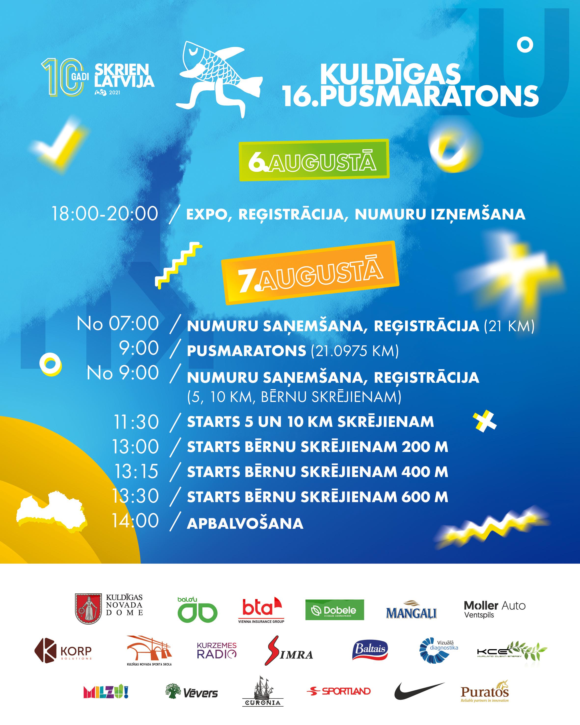 16. Kuldīgas pusmaratona programma